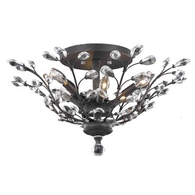 Gila 6-Light Semi Flush Mount Fixture Finish: Dark Bronze, Crystal Grade: Royal Cut