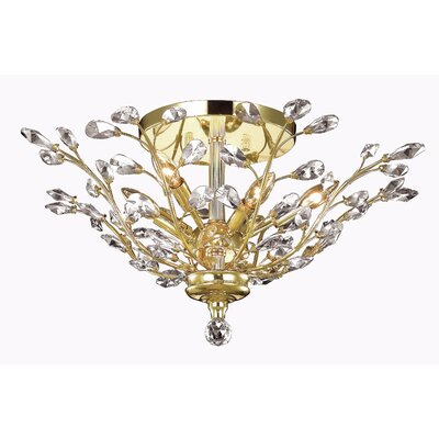 Gila 6-Light Semi Flush Mount Fixture Finish: Gold, Crystal Grade: Royal Cut