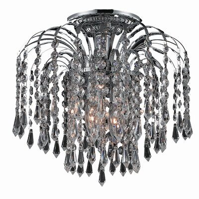 Lasher 3-Light Semi Flush Mount Fixture Finish: Chrome, Crystal Grade: Elegant Cut