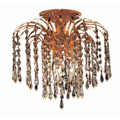 Lasher 3-Light Semi Flush Mount Fixture Finish: Gold, Crystal Grade: Royal Cut