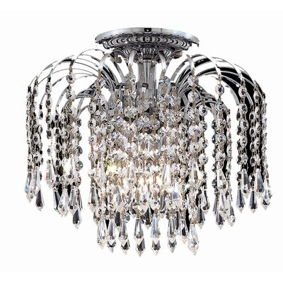 Lasher 4-Light Semi Flush Mount Fixture Finish: Chrome, Crystal Grade: Elegant Cut