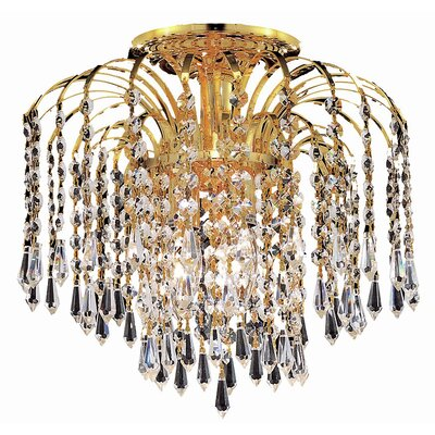 Lasher 4-Light Semi Flush Mount Fixture Finish: Gold, Crystal Grade: Swarovski Spectra