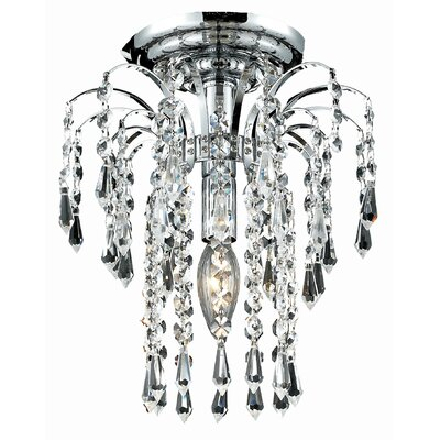 Lasher 1-Light Semi Flush Mount Fixture Finish: Chrome, Crystal Grade: Elegant Cut