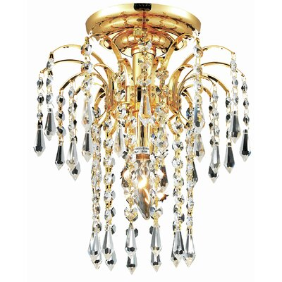 Lasher 1-Light Semi Flush Mount Fixture Finish: Gold, Crystal Grade: Elegant Cut