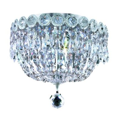 Century 3-Light Flush Mount Finish: Chrome, Crystal Grade: Strass Swarovski