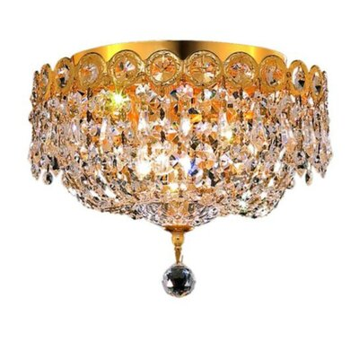 Century 3-Light Flush Mount Finish: Gold, Crystal Grade: Elegant Cut