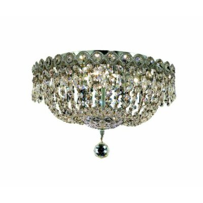 Century 4-Light 14 Flush Mount Finish: Chrome, Crystal Grade: Strass Swarovski