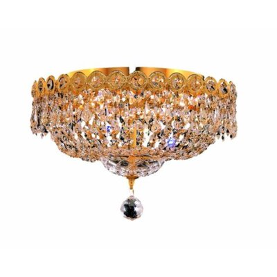 Century 4-Light 14 Flush Mount Finish: Gold, Crystal Grade: Strass Swarovski