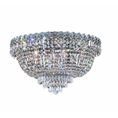 Century 9-Light Flush Mount Finish: Chrome, Crystal Grade: Strass Swarovski