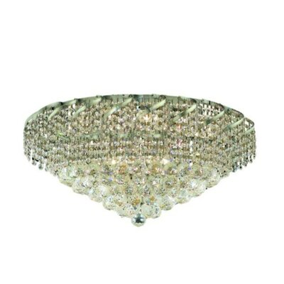 Belenus 18-Light Flush Mount Finish: Chrome, Crystal Grade: Elegant Cut