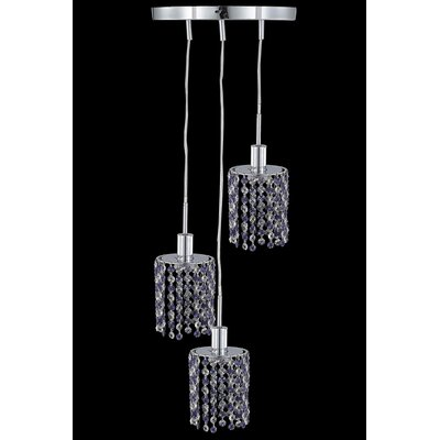 Mini 3 Light Pendant Crystal Color / Crystal Trim: Jet (Black) / Royal Cut