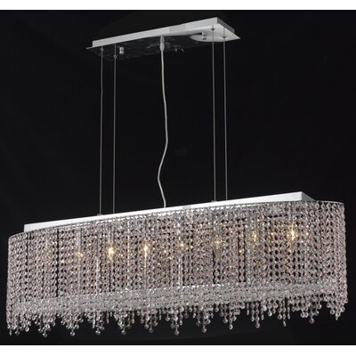 Hemera 8-Light Crystal Kitchen Island Pendant Crystal Color / Crystal Trim: Crystal (Clear) / Elegant Cut