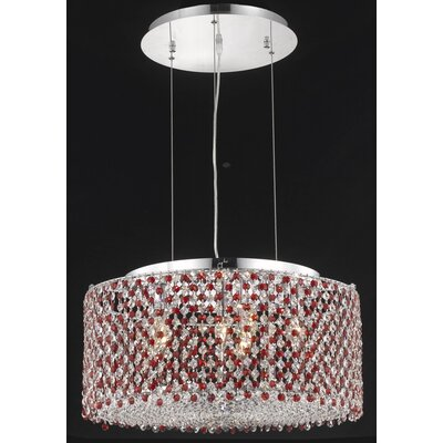 Moda 6-Light Drum Pendant Crystal Color / Crystal Trim: Crystal (Clear) / Elegant Cut