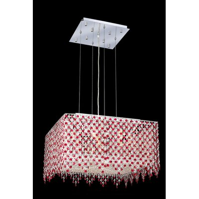 Troas 9-Light Kitchen Island Pendant Crystal Color / Crystal Trim: Crystal (Clear) / Elegant Cut