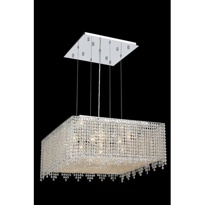 Troas 13-Light Kitchen Island Pendant Crystal Color / Crystal Trim: Crystal (Clear) / Royal Cut