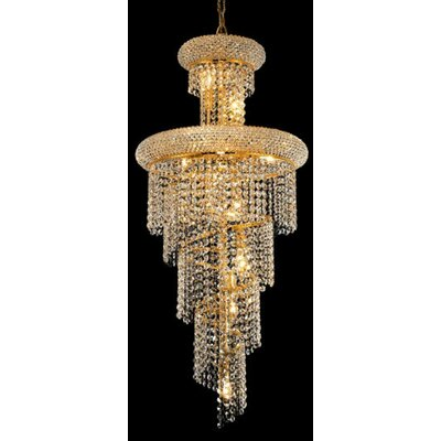 Spiral 10 Light Cascade Pendant Finish: Gold, Crystal Trim: Royal Cut