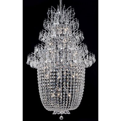 Primo 48-Light Crystal Chandelier Finish: Chrome, Crystal Trim: Chrome / Elegant Cut