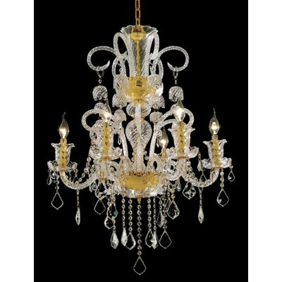 Elvira 6-Light Crystal Chandelier Finish / Crystal Color / Crystal Trim: Gold / Crystal (Clear) / Spectra Swarovski