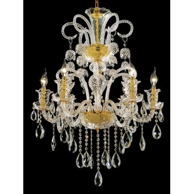 Baxley 6-Light Crystal Chandelier Finish: Gold, Crystal Trim: Royal Cut