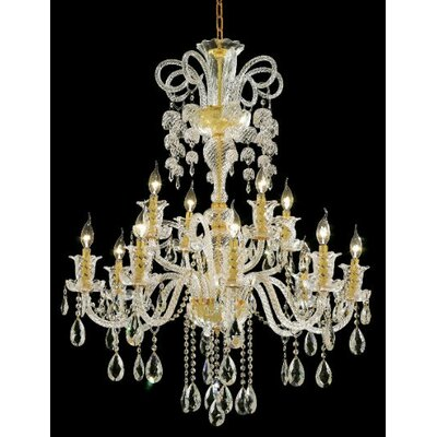 Prescott 12-Light Crystal Chandelier Finish: Gold, Crystal Trim: Strass Swarovski