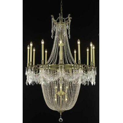 Ursula 22-Light Crystal Chandelier Finish: Antique Bronze, Crystal Trim: Royal Cut