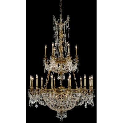 Ursula 27-Light Crystal Chandelier Finish: Antique Bronze, Crystal Trim: Elegant Cut