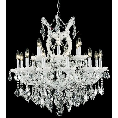 Regina 19-Light Candle-Style Chandelier Finish / Crystal Color / Crystal Trim: White / Crystal (Clear) / Royal Cut