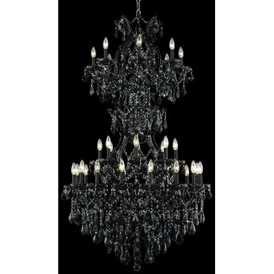 Regina 34-Light Crystal Chandelier Finish / Crystal Color / Crystal Trim: White / Golden Teak (Smoky) / Strass Swarovski