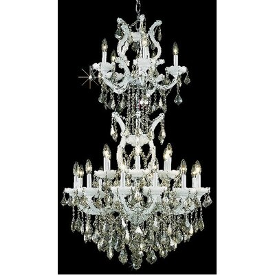 Regina 25-Light Crystal Chandelier Finish / Crystal Color / Crystal Trim: White / Golden Teak (Smoky) / Strass Swarovski
