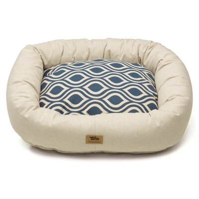 Pet Bumper Bed III Size: Double Extra Large (48 L x 39 W), Color: Linen / Cobalt Groove