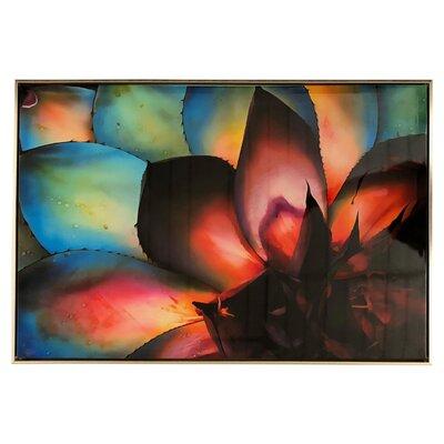 'Rainbow Succulent High Gloss' Framed Graphic Art Print on Canvas