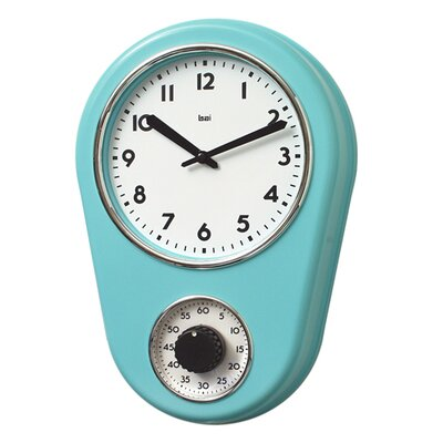 "8.5"" Kitchen Timer Retro Modern Wall Clock Finish: Turquoise"