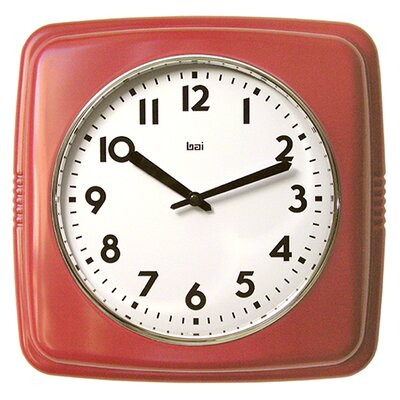 Square Retro Wall Clock Finish: Red