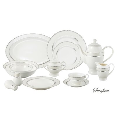 Bone China 57 Piece Dinnerware Set, Service for 8 Serafina