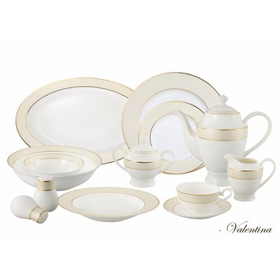 Bone China 57 Piece Dinnerware Set, Service for 8 Valentina