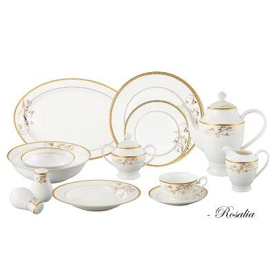 Bone China 57 Piece Dinnerware Set, Service for 8 Rosalia