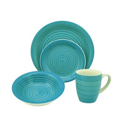 Lorren Home Trends Swirl 16 Piece Dinnerware Set - Color: Blue