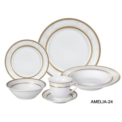 Amelia 24 Piece Porcelain Dinnerware Set, Service for 4 Amelia-24
