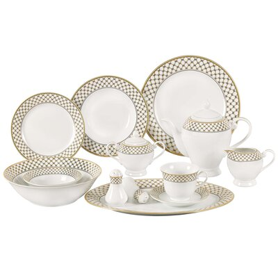 Anabelle 57 Piece Porcelain Dinnerware Set, Service for 8 Anabelle-57