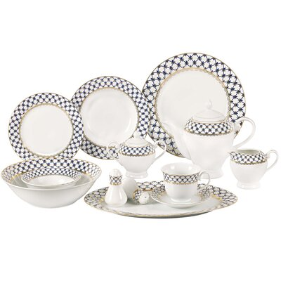 Jeanette 57 Piece Porcelain Dinnerware Set, Service for 8 Tula-57