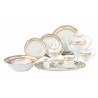 Isabella 57 Piece Porcelain Dinnerware Set In Wavy Edge With Gold Border