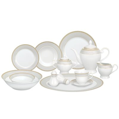 Alina Porcelain 57 Piece Dinnerware Set, Service for 8 Alina-GD