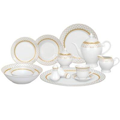 Beatrice Porcelain 57 Piece Dinnerware Set, Service for 8 Beatrice