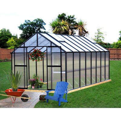 """Riverstone Industries Corporation Monticello 7' 6"""" H  x 8.0' W x 24.0' D Plastic Polycarbonate 8 mm Commercial Greenhouse - Frame Finish: Black at Sears.com"""
