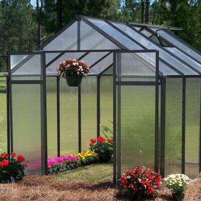 """Riverstone Industries Corporation Monticello 7' 6"""" H  x 8.0' W x 8.0' D Plastic Polycarbonate 8 mm Commercial Greenhouse - Frame Finish: Black at Sears.com"""