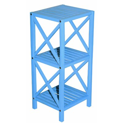 Bamboo 3 Tier End Table Color: Light Blue