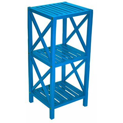 Bamboo 3 Tier End Table Color: Blue