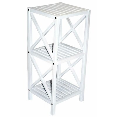 Bamboo 3 Tier End Table Color: White