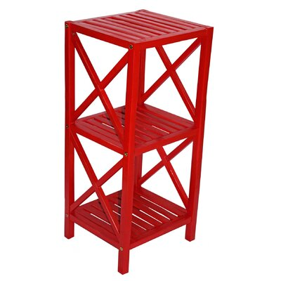 Bamboo 3 Tier End Table Color: Red