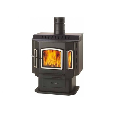 Sahara - Brushed Nickel Door Wood Stove on Pedestal